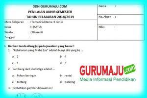 Soal UTS / PTS Kelas 1 Semester 2 Kurikulum 2013 Revisi 2018